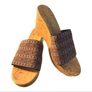 Montego Bay Club Cork Wedge Cloth Sandal